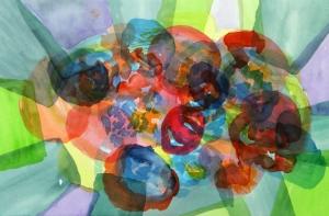 Aquarell, Juli 2014,  auf Kupferdruckpapier, 51 x 74 cm verschiedene Farben ausprobiert, auch flüssige Aquarellfarben. Das Wetter ist günstig, so sind die Wartezeiten nicht so lang.