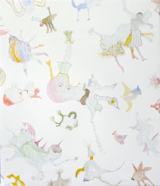 2018, Monster 3, 2018, Acryl, Aquarell auf Lw., 70x60 cm